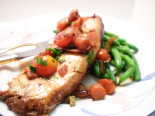 Braised Salmon in red wine