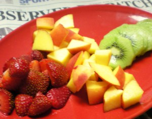 Fruit for two: Strawberries, Kiwi, and Peaches